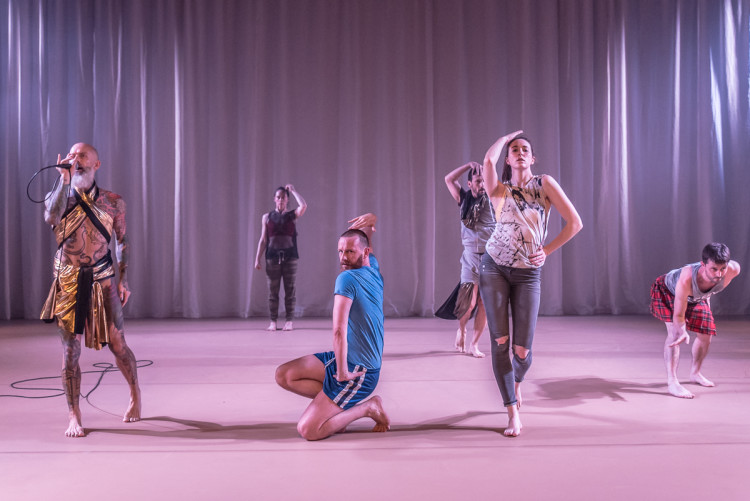 Matthew, Bernadette, Theo, Mikel, Liv and Philip in Butterflies and Bones. Photo Stephen Wright